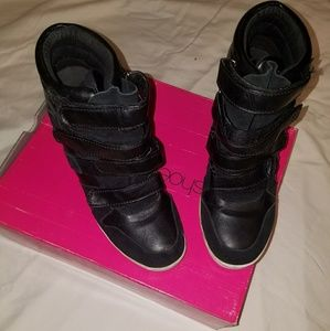 Black Leather Velcro strapped sneaker wedges